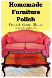 Homemade Furniture Polish Recipe | Polish your furniture for pennies! Did you know commercial polish attracts dust and dulls your furniture over time? With just two ingredients you can make a polish that protects, cleans, and shines in one spray.