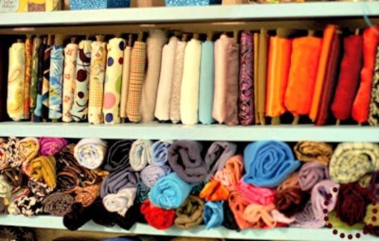 How to store fabric - Use cardboard to keep folded fabric neat