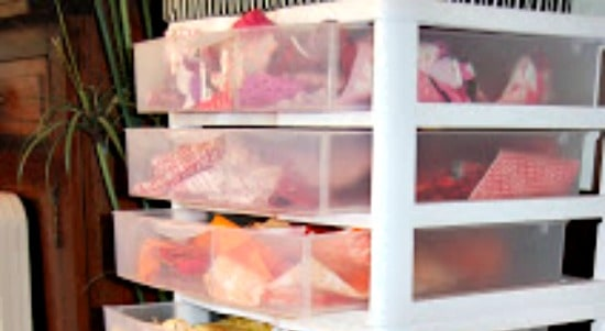 How to store fabric - Use stacking transparent plastic drawer units