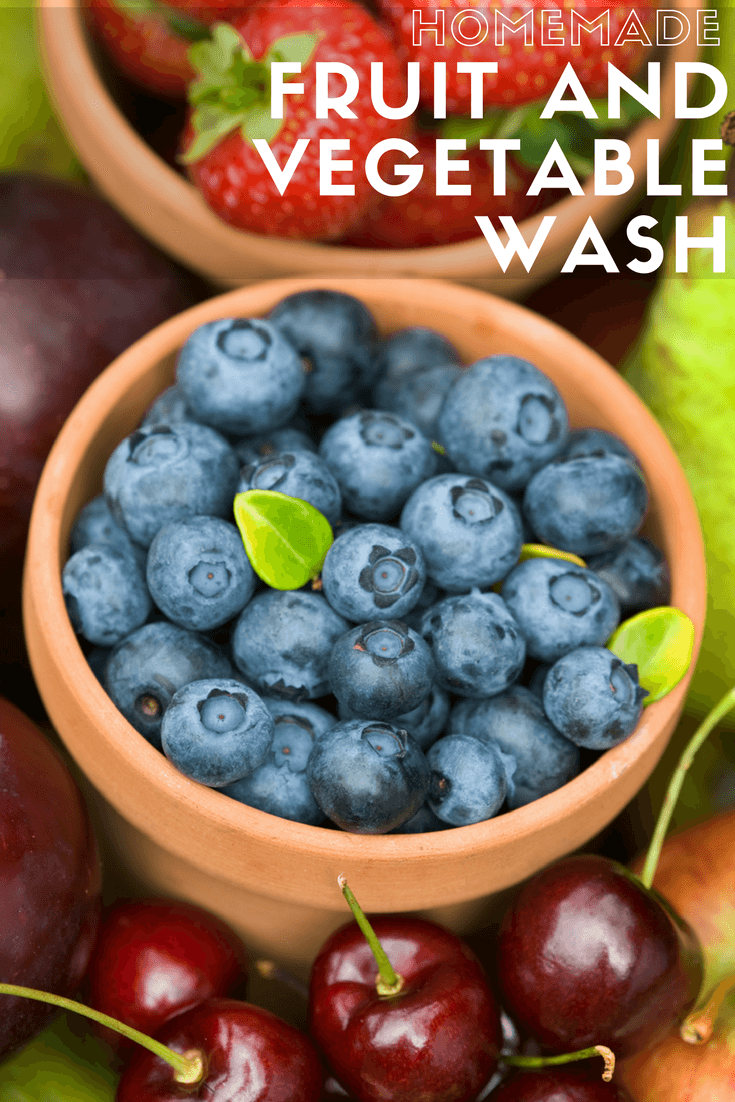 This Homemade Fruit and Vegetable Wash is such an easy way to protect your family from food-borne bacteria on produce.