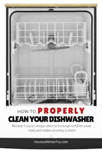 How to clean your dishwasher properly - because a cup of vinegar is not enough to kill the bacteria, fungi, and mold it is spreading to your dishes!   cleaning tip   cleaning hack   kitchen cleaning