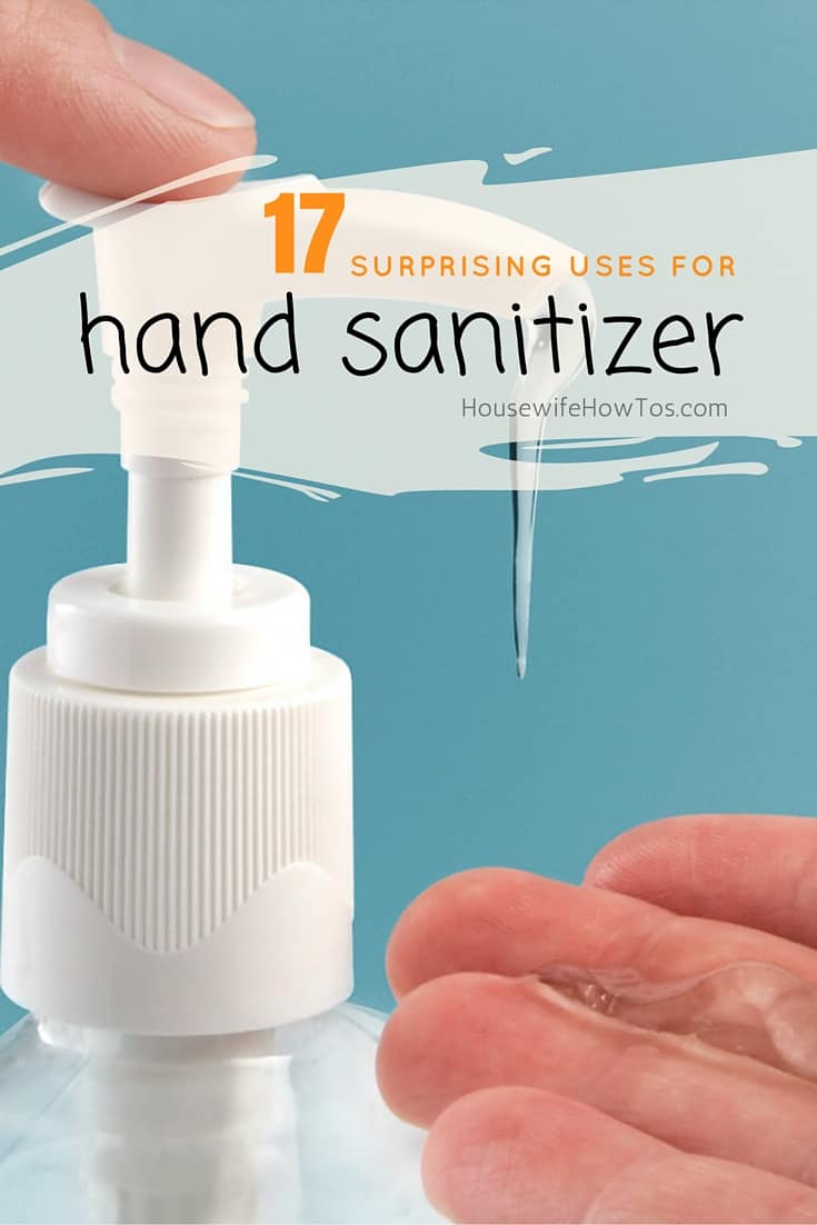 Surprising uses for hand sanitizer - I will never look at a bottle of this stuff the same way again! | via HousewifeHowTos.com