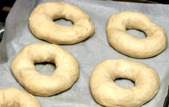Homemade Bagels Recipe - Let the shaped bagels rise while you bring water to a boil