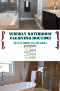 This printable weekly bathroom cleaning routine keeps my bathrooms looking (and smelling) awesome in half the time it used to take me!