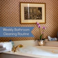 Weekly bathroom cleaning routine and checklist from HousewifeHowTos.com
