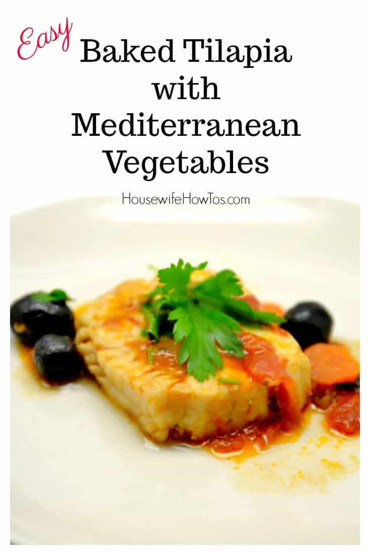 Baked Tilapia with Mediterranean Vegetables Recipe | This is a super easy weeknight dinner that even guests will love. You can cook frozen fish fillets topped with the vegetable mixture for a speedy delicious meal