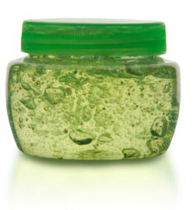 Homemade Air-Freshener Gel Recipe tinted green and poured into a jar