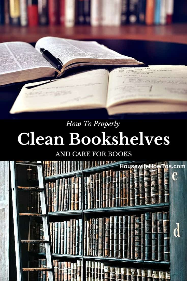 How To Clean Bookshelves - I had no idea that improper cleaning was the reason my books had started to smell odd and attract bugs! | via HousewifeHowTos.com