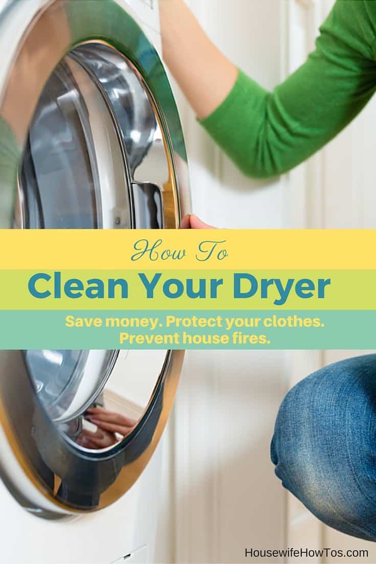 How To Clean Your Clothes Dryer - I had no idea how much lint had built up inside my dryer, or how dangerous it was! This shows how to get rid of the lint that builds up inside the machine that can cause house fires and waste your electricity, too. | via HousewifeHowTos.com