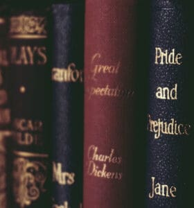 How to Clean Bookshelves - Leather bound classic books on a shelf
