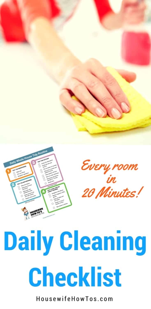 Daily Cleaning Routine Checklist - This daily cleaning routine is so easy to follow and keeps my home looking amazing every single day! #cleaningchecklist #cleaning #homemaking #cleaningroutine