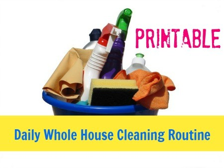 Printable daily cleaning routine from HousewifeHowtos.com