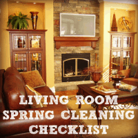 Living room spring cleaning checklist printable from HousewifeHowTos.com