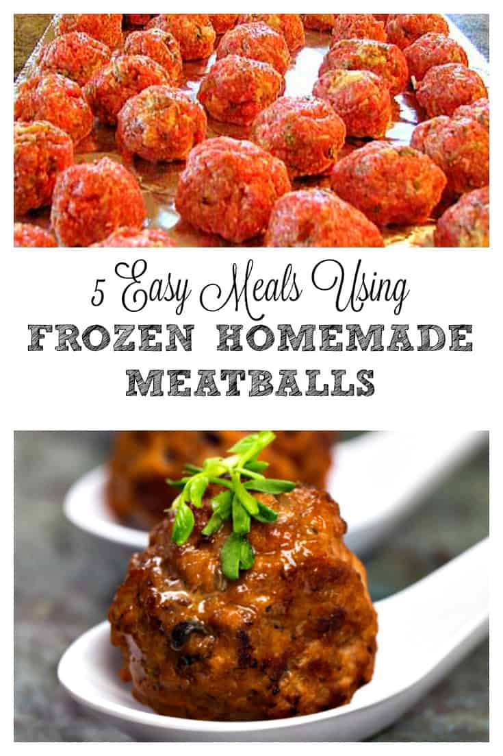 5 Meals Using Meatballs - GREAT meatball recipe and quick recipes to use them. I am going to start doing OAMC for meatballs now.