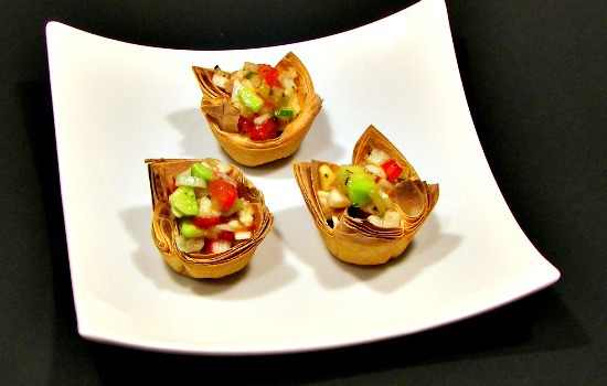 Ceviche Recipe Two Ways - Traditional or Vegan - Serve in phyllo cups for a yummy party appetizer