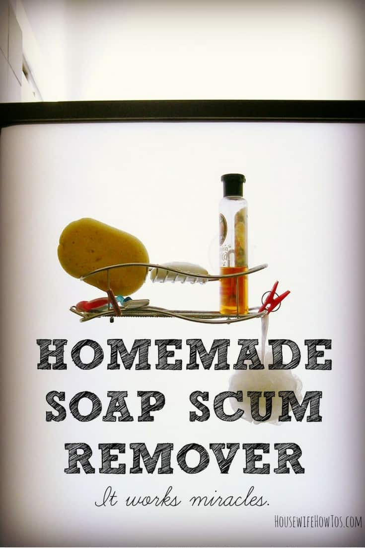 Homemade Soap Scum Remover - 2 ingredients you just spray on and wipe away. Works great! via @HousewifeHowTos