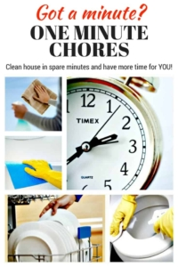One Minute Chores | Squeeze cleaning into otherwise wasted time! | Cleaning checklist | Household chores | Chore list | Printable | #cleaningtips