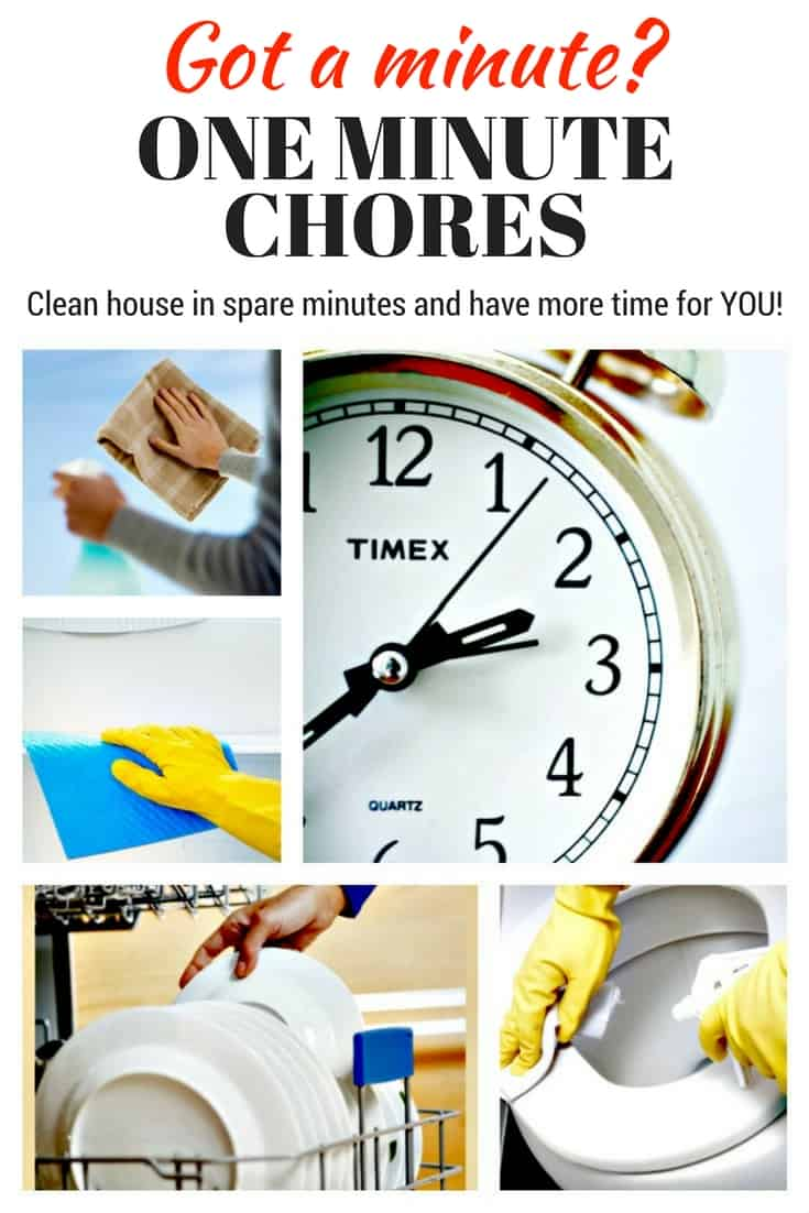 One Minute Chores | Tired of using your weekends to clean house? Use idle minutes during the week to do it instead. It's amazing how much you can get done! #cleaningtips #chores