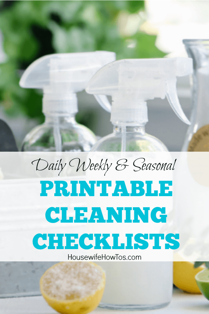 Printable Cleaning Checklists | Daily cleaning, weekly cleaning routine, Spring Cleaning checklists and more