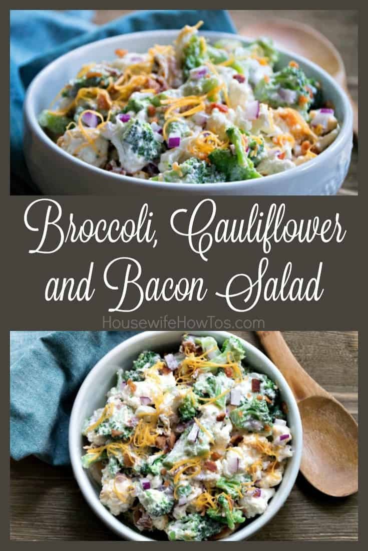 Broccoli, Cauliflower, and Bacon Salad Recipe | An easy vegetable side dish that keeps well for days in the refrigerator. #salad #sidedish