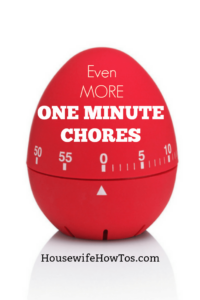 Even More One-Minute Chores | I love this series listing all the different things I can clean (or make the kids clean) in one minute or less! #speedcleaning #chores