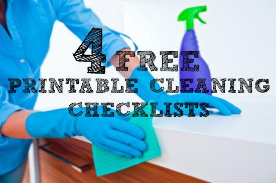 Four free printable cleaning checklists from HousewifeHowTos.com