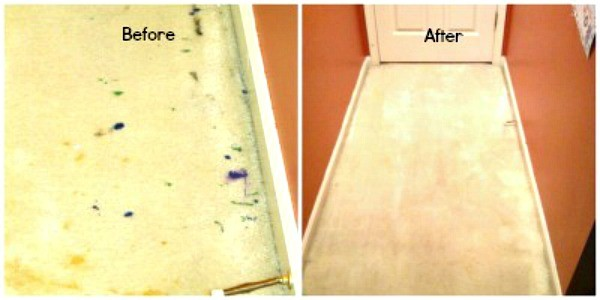 Before and after photos showing dried paint removed from carpet