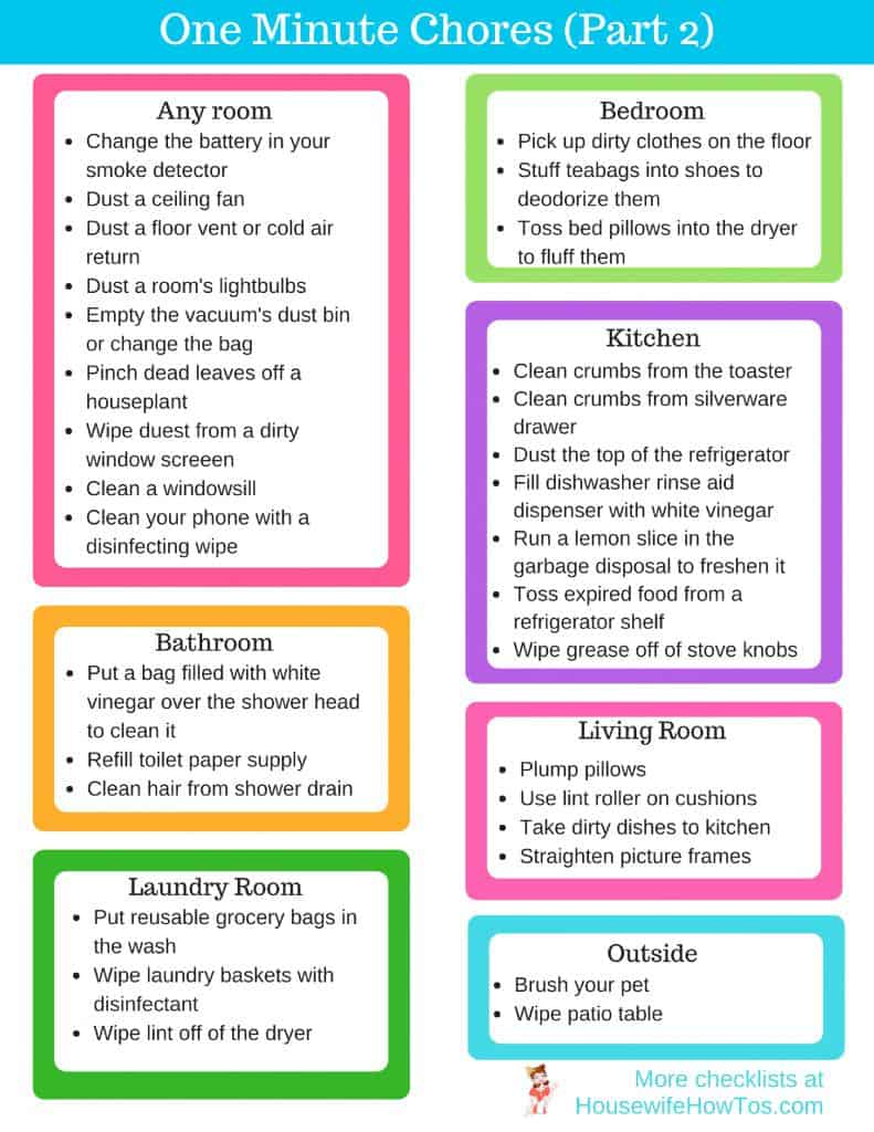 One Minute Chores - 30 More Ideas