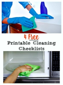 Four free printable cleaning checklists | Clean your bedroom, bathroom, kitchen PLUS get your whole house looking spotless with these checklists. | #cleaningroutine #cleaningchecklist