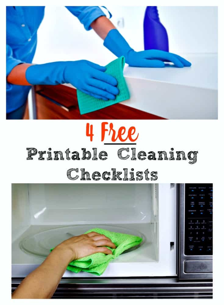 Clean your house like a PRO with 4 free printable checklists. So easy to follow your spouse or kids can do the cleaning! #cleaningchecklist #cleaningroutine