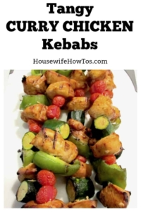 Tangy Curry Chicken Kebabs Recipe | Easy recipe with lots of flavor. Can freeze chicken in the marinade then add vegetables when defrosting so it is perfect for weeknights too! #grilling