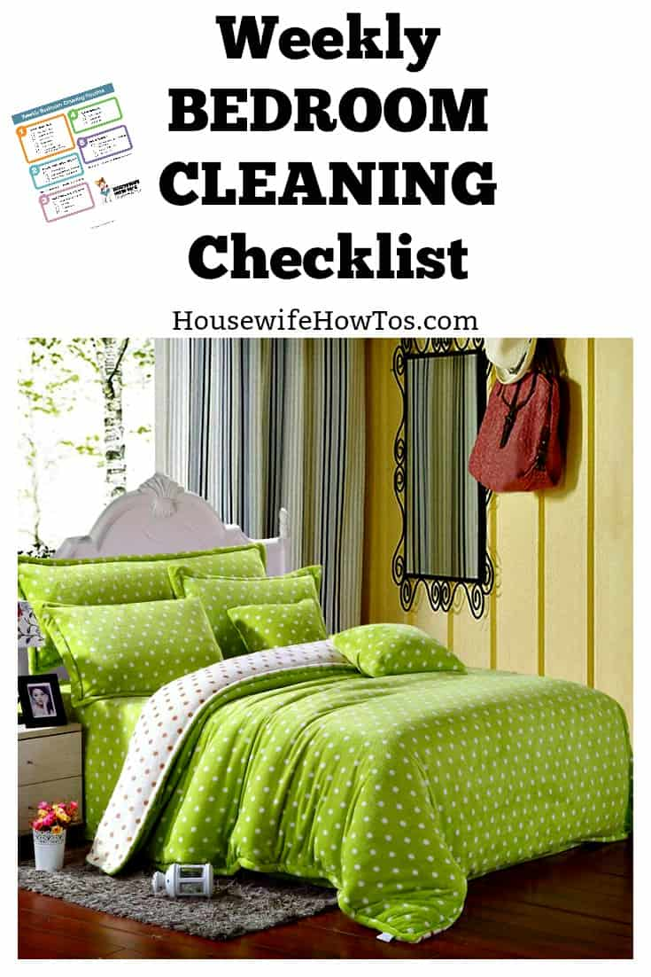 Weekly bedroom cleaning checklist printable for The clean bedroom