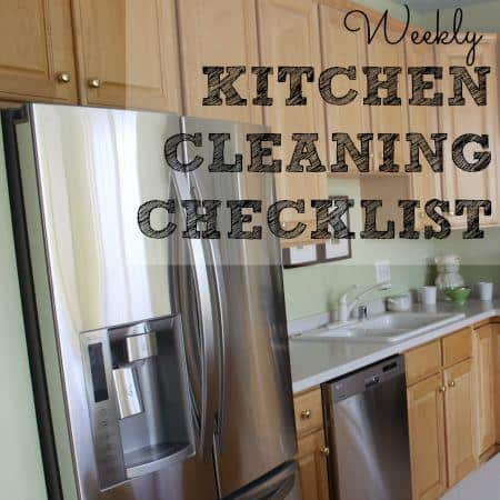 Weekly kitchen cleaning checklist from HousewifeHowTos.com