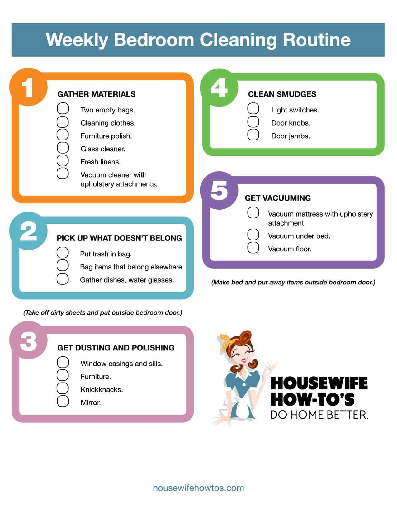 Printable bedroom cleaning checklist to use weekly for a clean room