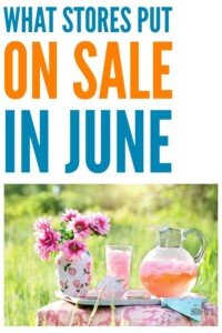 What Stores Put On Sale in June - This list helps me save money by knowing what's on sale in June and what will be a better deal if I just wait a bit. #savingmoney #frugal #frugalshopper #frugalfinds #savings #thrifty #smartshopping #stockup #stockupnow #stockupsales