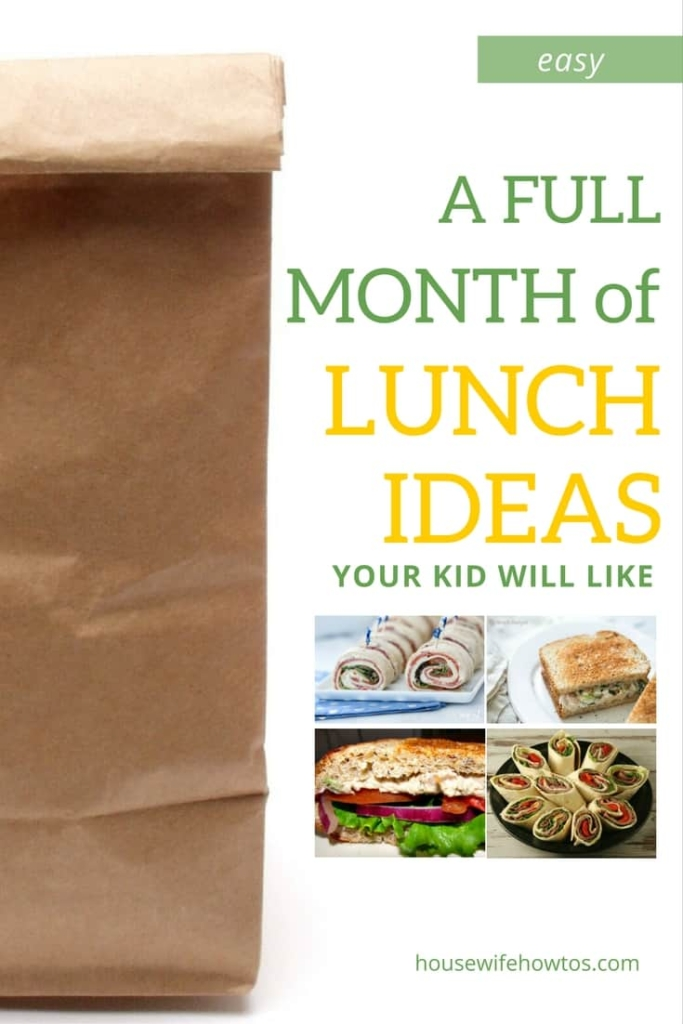 A Month of School Lunch Ideas - These are so easy and delicious plus they are great to take to work, too! | via @HousewifeHowTos