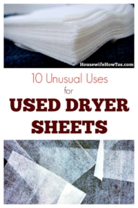Unusual Uses for Used Dryer Sheets Great way to cut down on waste and tackle tasks around the house using old dryer sheets. #recycling #cleaningtips