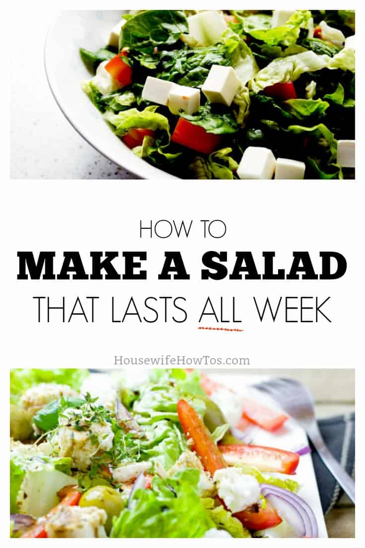 How to make a salad that lasts all week | Stop wasting money on making salads that wilt in your refrigerator. These easy tricks will keep your salad fresh and crisp for a whole week or more! #cookingtips #mealprep
