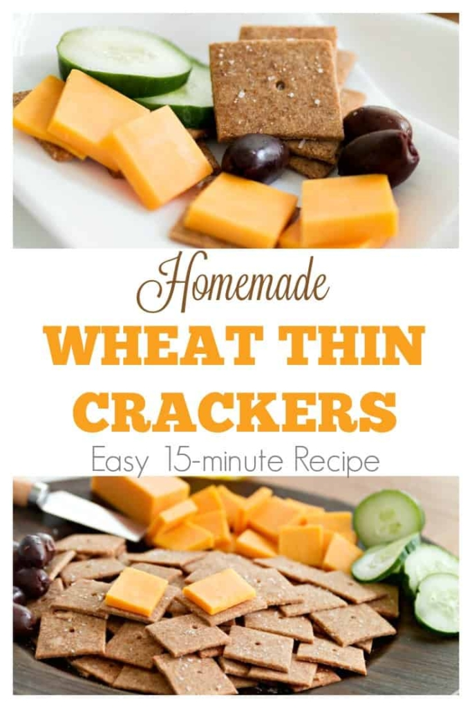 Homemade Wheat Thins Crackers | An easy 15-minute recipe #snackfood #healthysnackrecipe