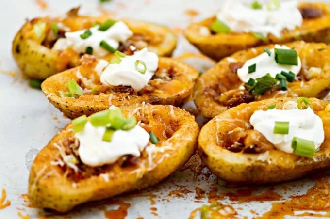 Homemade Stuffed Potato Skins Recipe - A party-pleasing appetizer for Game Day