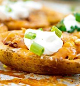 Homemade Stuffed Potato Skins Recipe - This is football food!