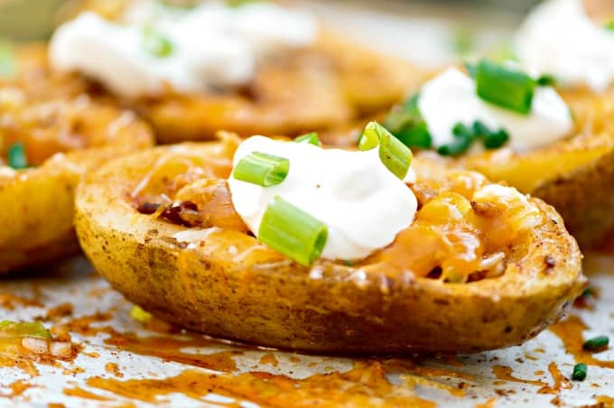 Homemade Stuffed Potato Skins Recipe - This is football food!