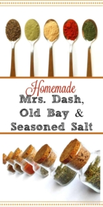 Homemade Mrs. Dash, Old Bay and Seasoned Salt recipes - Making your own costs just pennies! #homemade #mrsdash #oldbay #seasonedsalt #spiceblend #seasonings #makeyourown