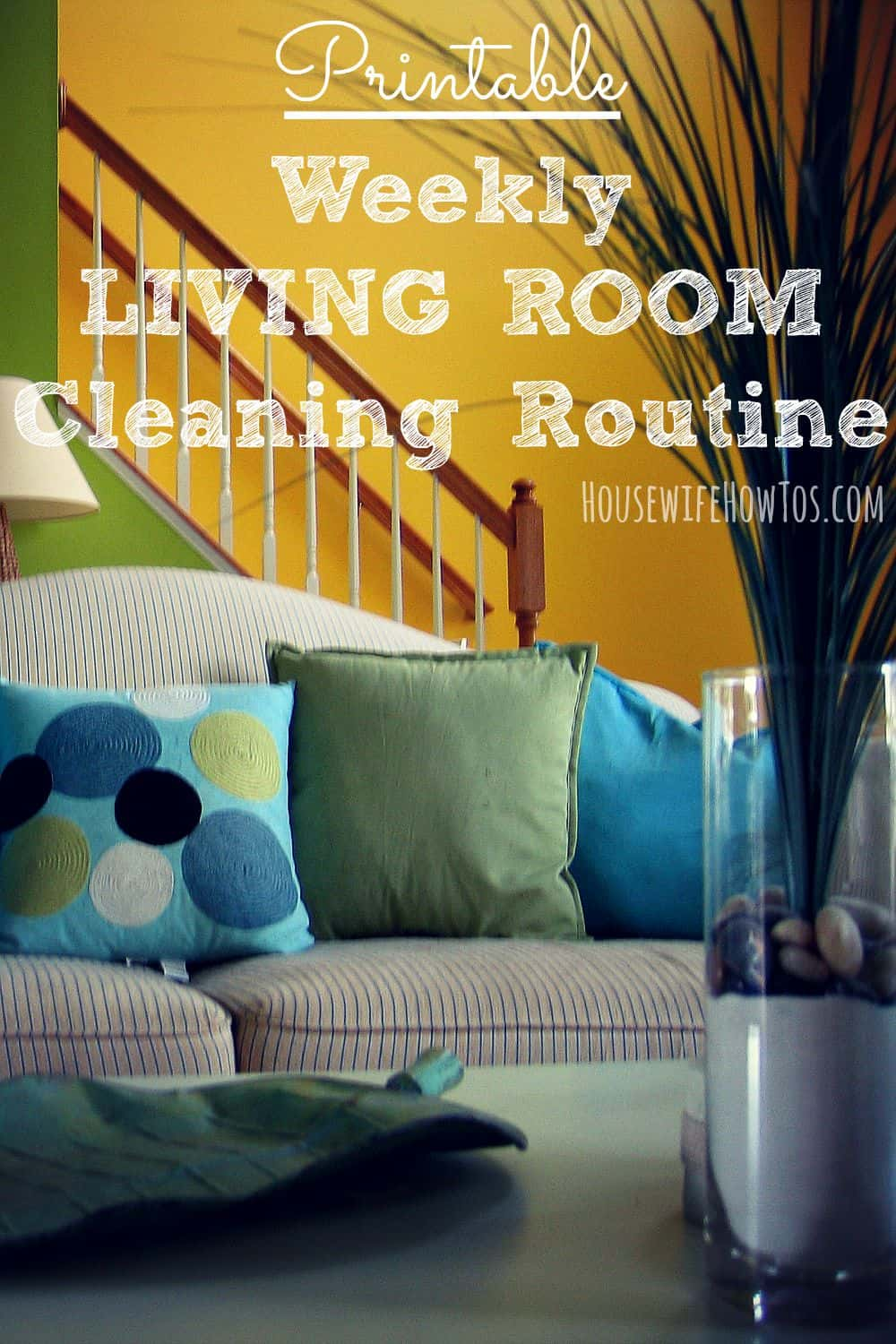 Pin Printable weekly cleaning checklist for living room from HousewifeHowTos