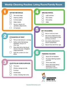 Weekly Cleaning Checklist For Living Room Printable