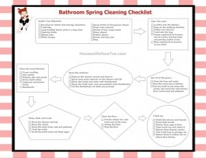 Bathroom spring cleaning checklist printable routine from HousewifeHowTos.com