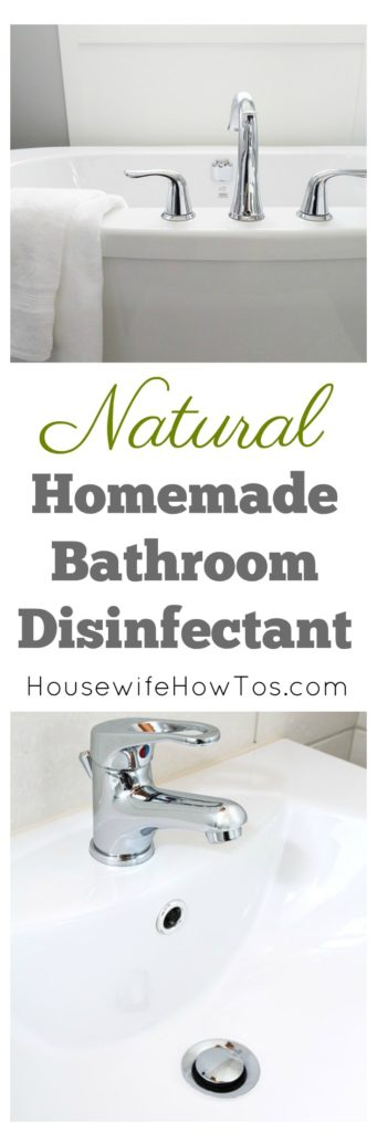 Homemade Bathroom Disinfectant Natural spray and scrub to clean your bathroom without polluting your air #homemadecleaner #naturalcleaner #cleaningrecipe #cleaning