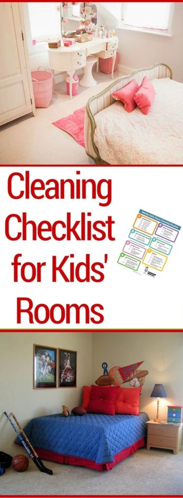 Cleaning Checklist for Kids' Rooms | Easy to follow checklist that guides kids through cleaning their bedrooms on their own. #cleaning #kidschores #chores #cleaningchecklist #bedroom #cleaningtips