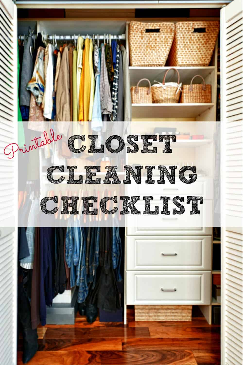 Get your closet totally organized with the free printable closet cleaning checklist, then keep it that way with the weekly closet tidying checklist, too!