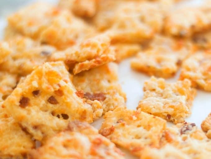 Bacon Garlic Cheddar Crackers ready to eat